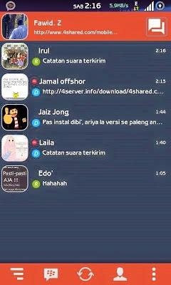 Download Aplikasi BBM Mod Android Dark Orange Themes Version 2.8.0.21 Apk