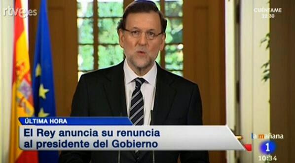 Abdicación de Juan Carlos I, Rajoy comparece para anunciarlo