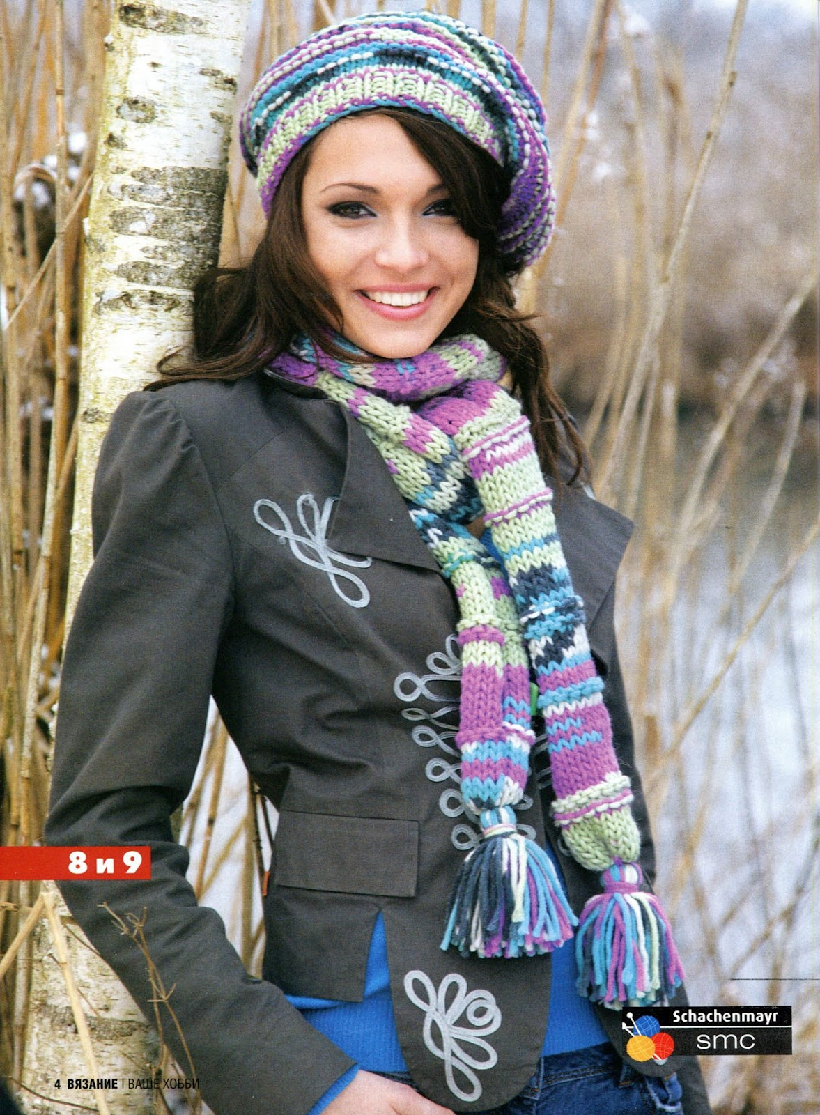 Шапочка и шарф спицами схема вязания. шапки. шарфы.  Шапочка и шарфик связаны спицами 7-8 из меланжевой пряжи.