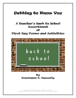 MMiddle and High School Teachers-Back to School Forms and Activities