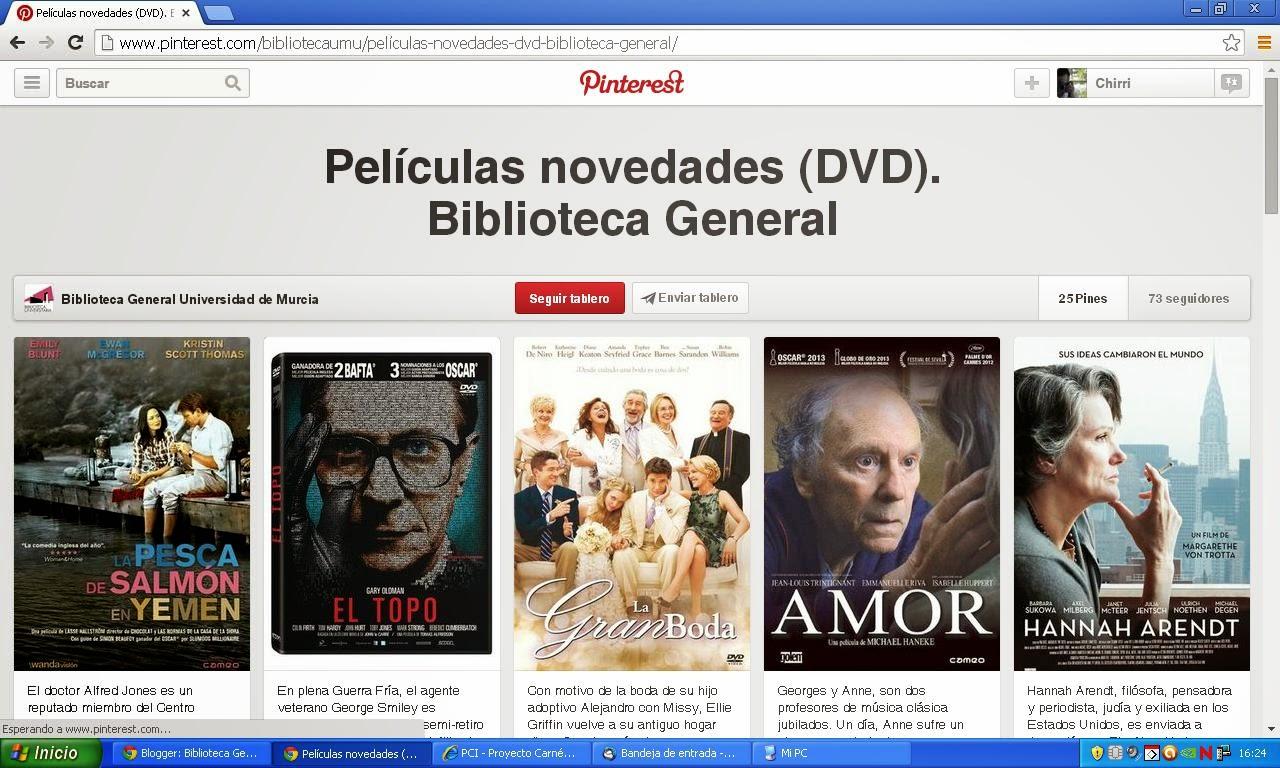 Películas novedades Biblioteca General.