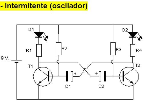 Circuito Oscilador : Electronica oscilador intermitente