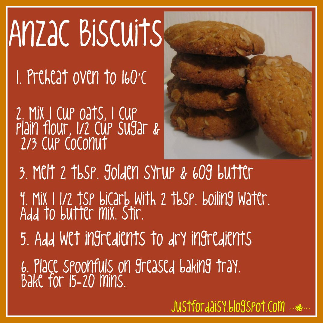 Here is my simple recipe for Anzac Biscuits!