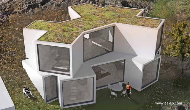 Casa moderna de formas geomtricas en Catalua, Espaa