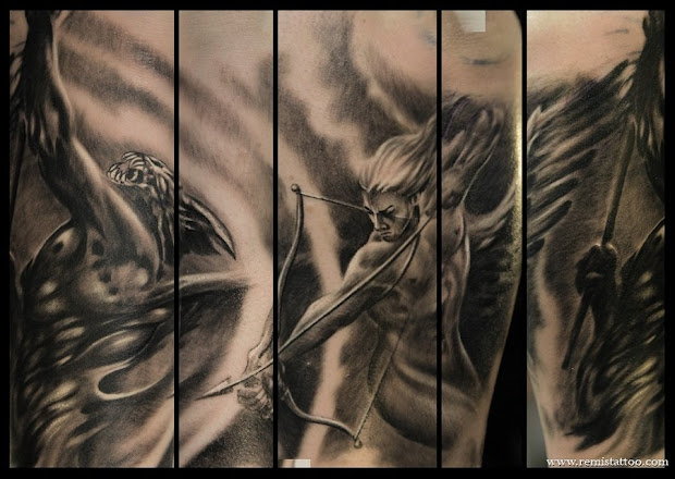 tattoo donkey angel devil