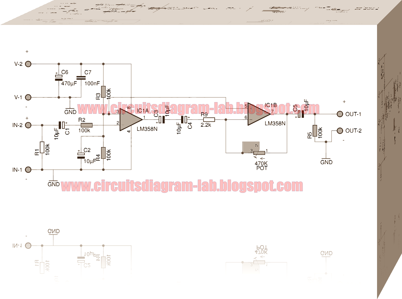 Pre Amplifier Integrated Circuit Lm358 Dual Op Amp Circuits Lm358nlow Power Operational Amplifiers Schematic Of The Audio