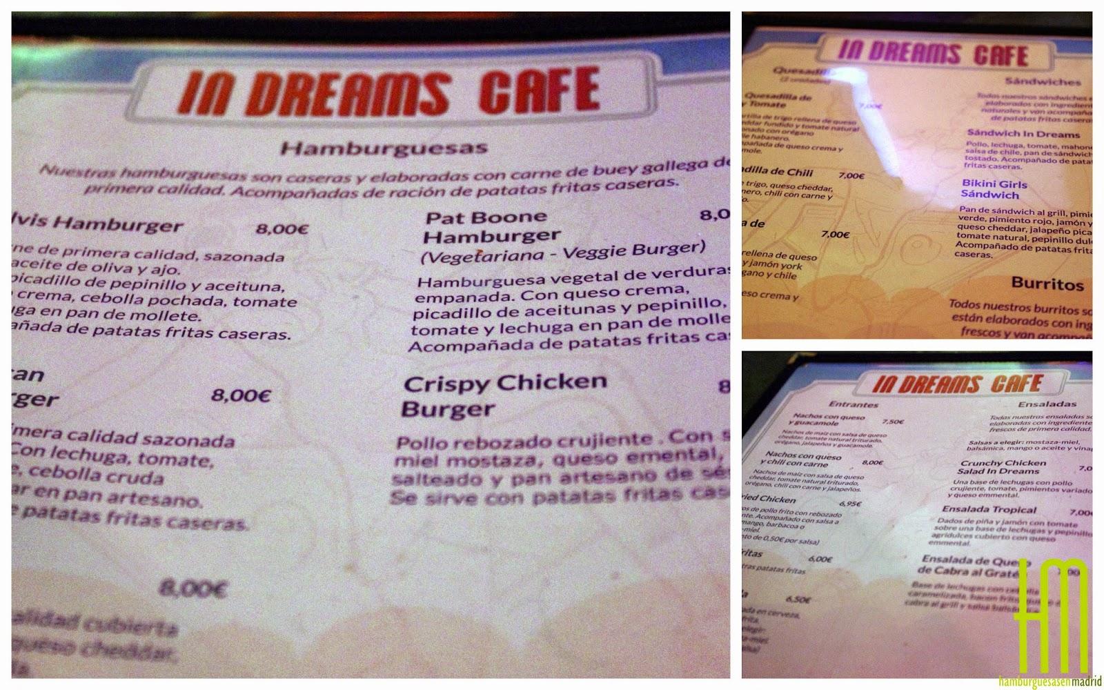 Carta comidas In Dreams