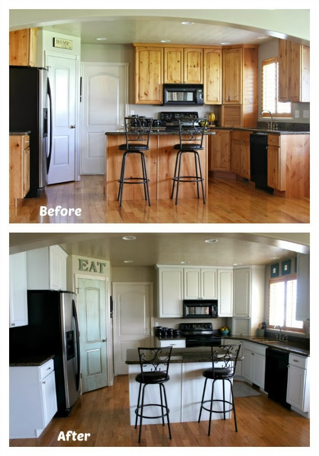 365 days of slow cooking white painted kitchen cabinet for Kitchen cabinets before and after