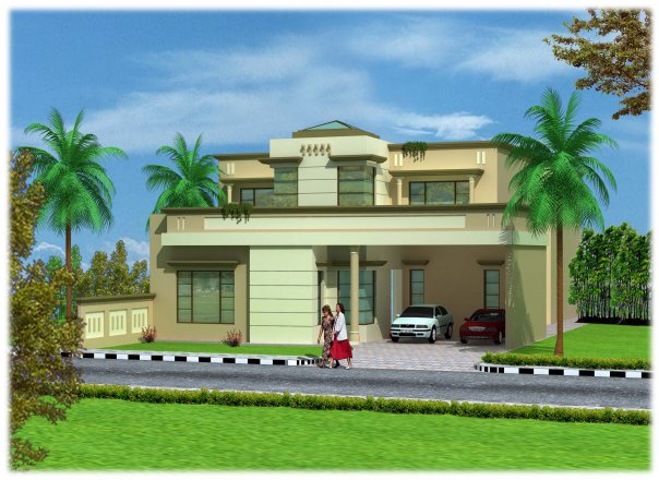 3d Front Elevation Lahore : D front elevation kanal house