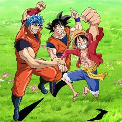 Gokuh, Toriko y Luffy
