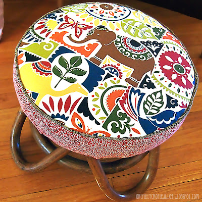 Artfully Crafted Bamboo Mid Century Footstool