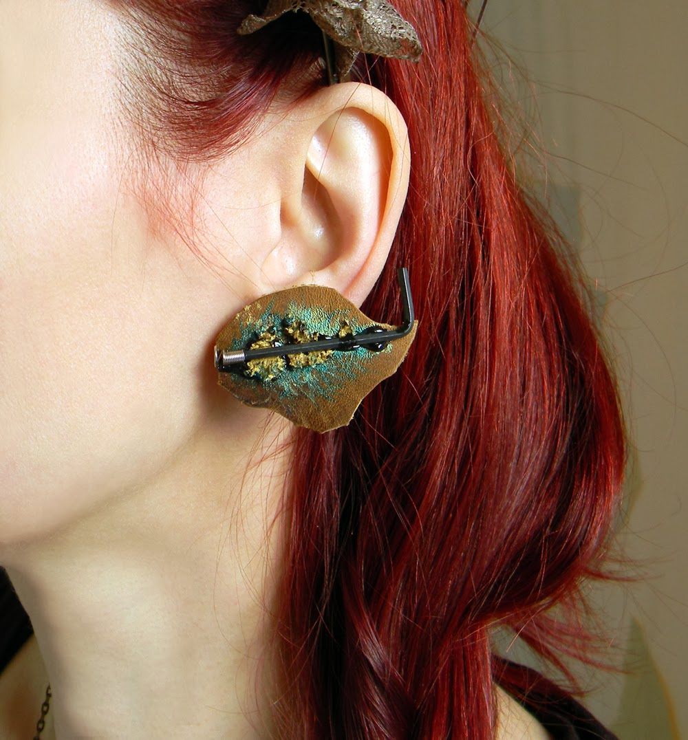 Abstract Shapes Leather Clip On Earrings in Steampunk Couture Style, Hand Painted Brown Leather Earrings