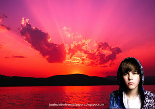 Wallpaper of Justin Bieber Sad Face with Hood in Beautiful Sunset background