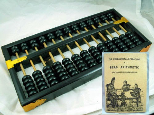 CHINESE VINTAGE WOODEN ABACUS/SUAN PAN BLACK BEAD + INSTRUCTION BOOK