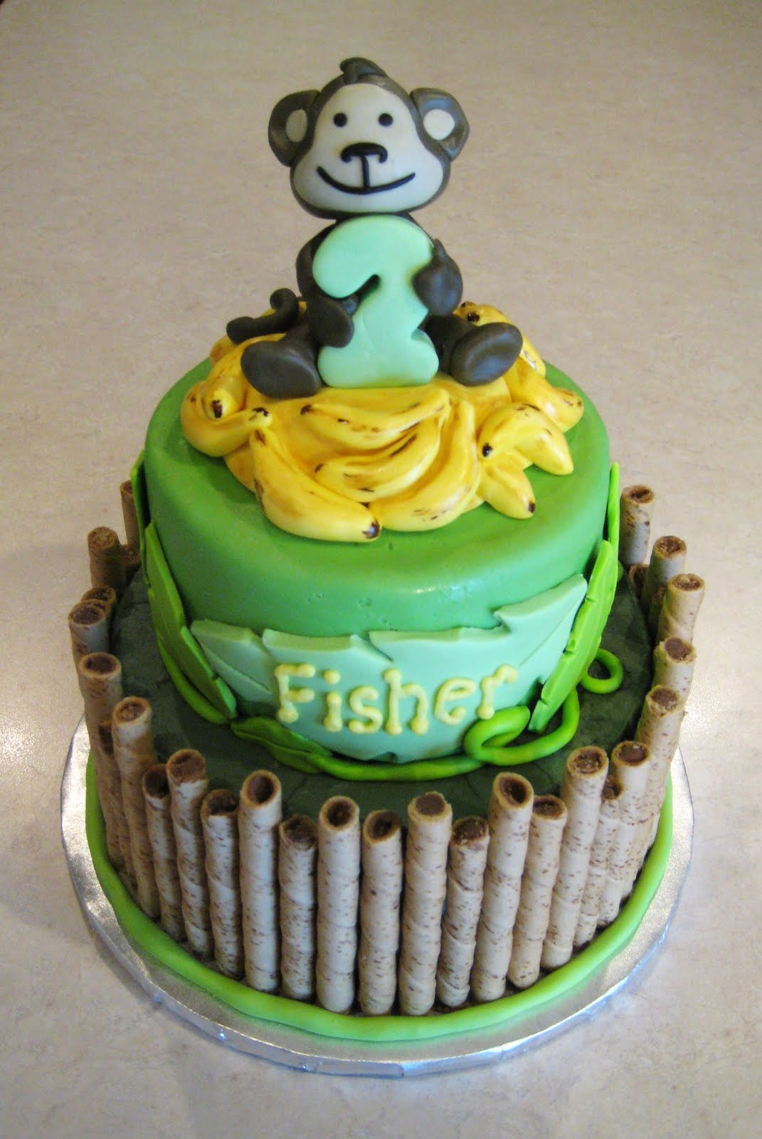 Fondant Monkey On Top Of Cake