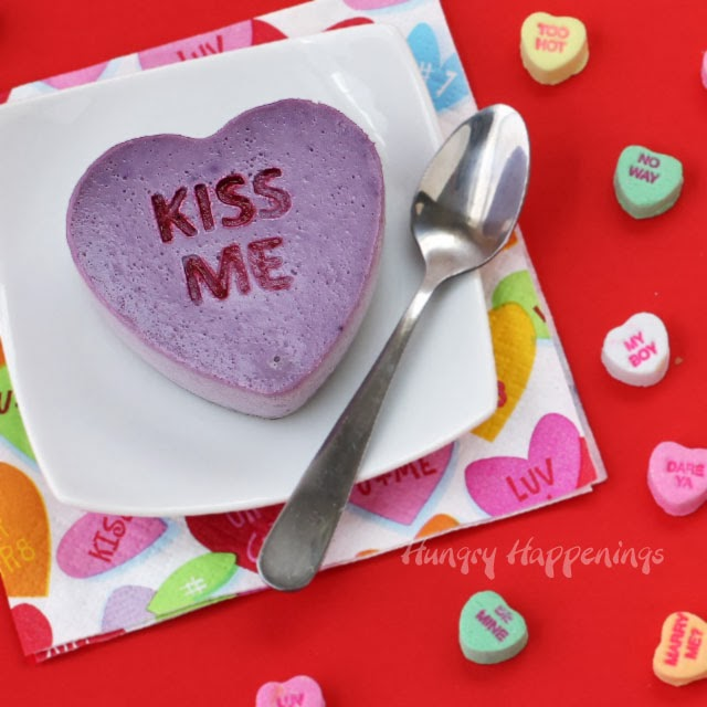 Conversation Heart Cheesecakes | HungryHappenings.com
