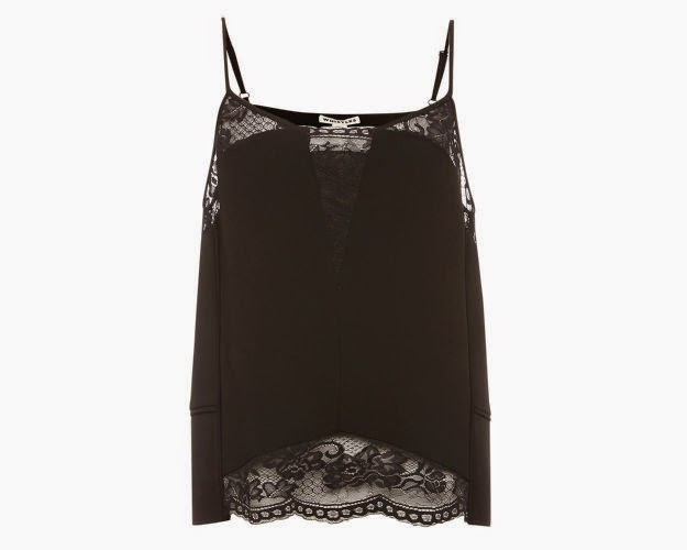 whistles black lace top, black lace cami,