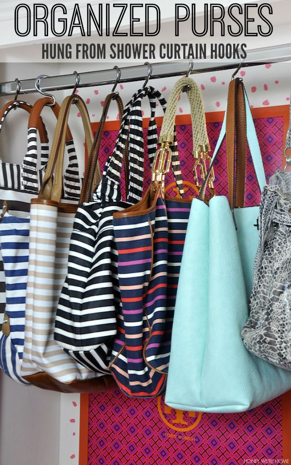 Genius solution for organizing purses - hang them from inexpensive shower curtain hooks!