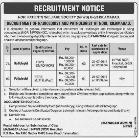 Pathologist and Radiologist Jobs in Public Sector Organization, Peshawar