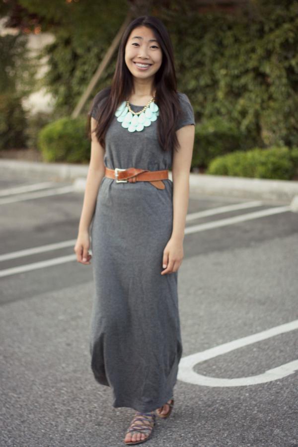 Grey Maxi Dress+Belt