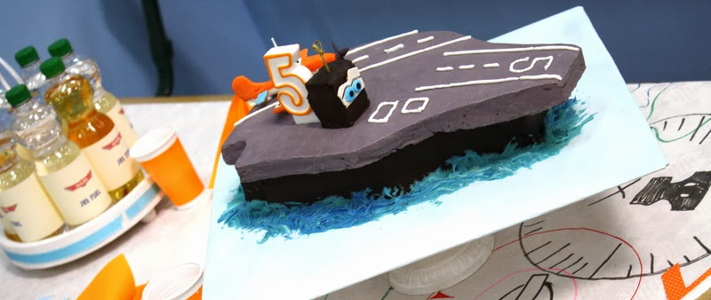 Aircraft Carrier Cake with Dusty Crophopper Cake Topper