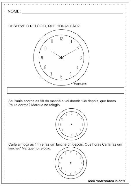 Medida de Tempo Hora Analógico Atividade