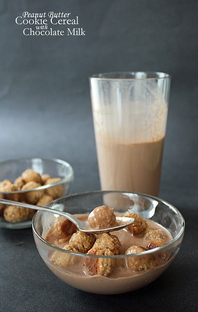 peanut butter cookie cereal with chocolate milk