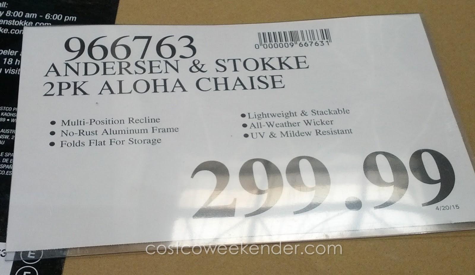 andersen stokke aloha woven chaise lounge chair costco weekender