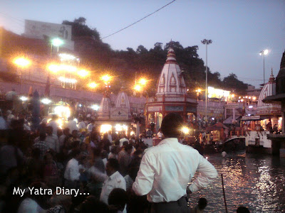 Sea of pilgrims at the Har Ki Pauri Ghat in Haridwar Moments before the Evening Ganga Arti begins