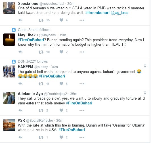 "#FireOnBuhari Trends On Twitter As President Buhari Supporters Comes For ""Wailers"""