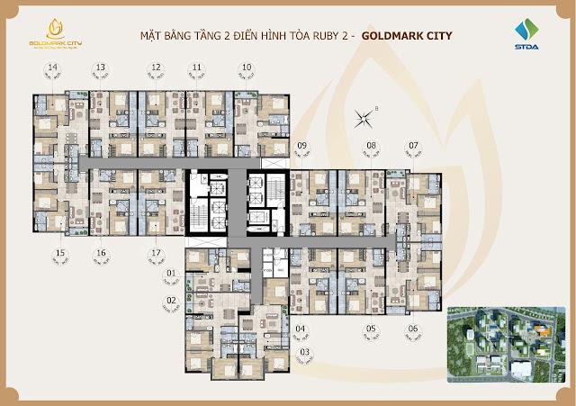 mặt bằng chung cư goldmark City