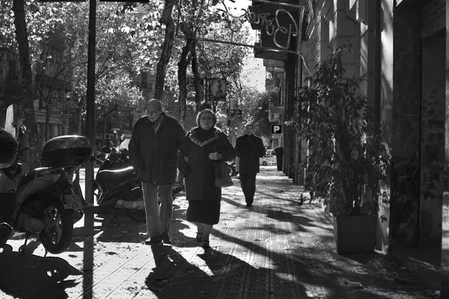 Elders walking, Barcelona, Spain [enlarge]