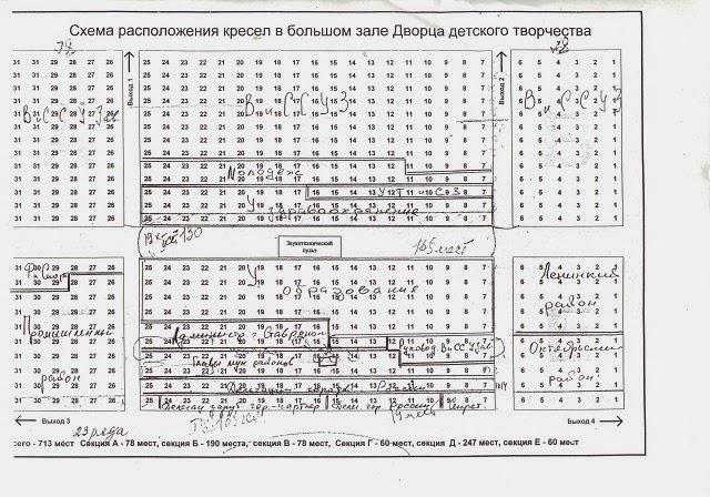Схема расположения кресел в большом зале Дворца детского творчества в городе Ставрополь.