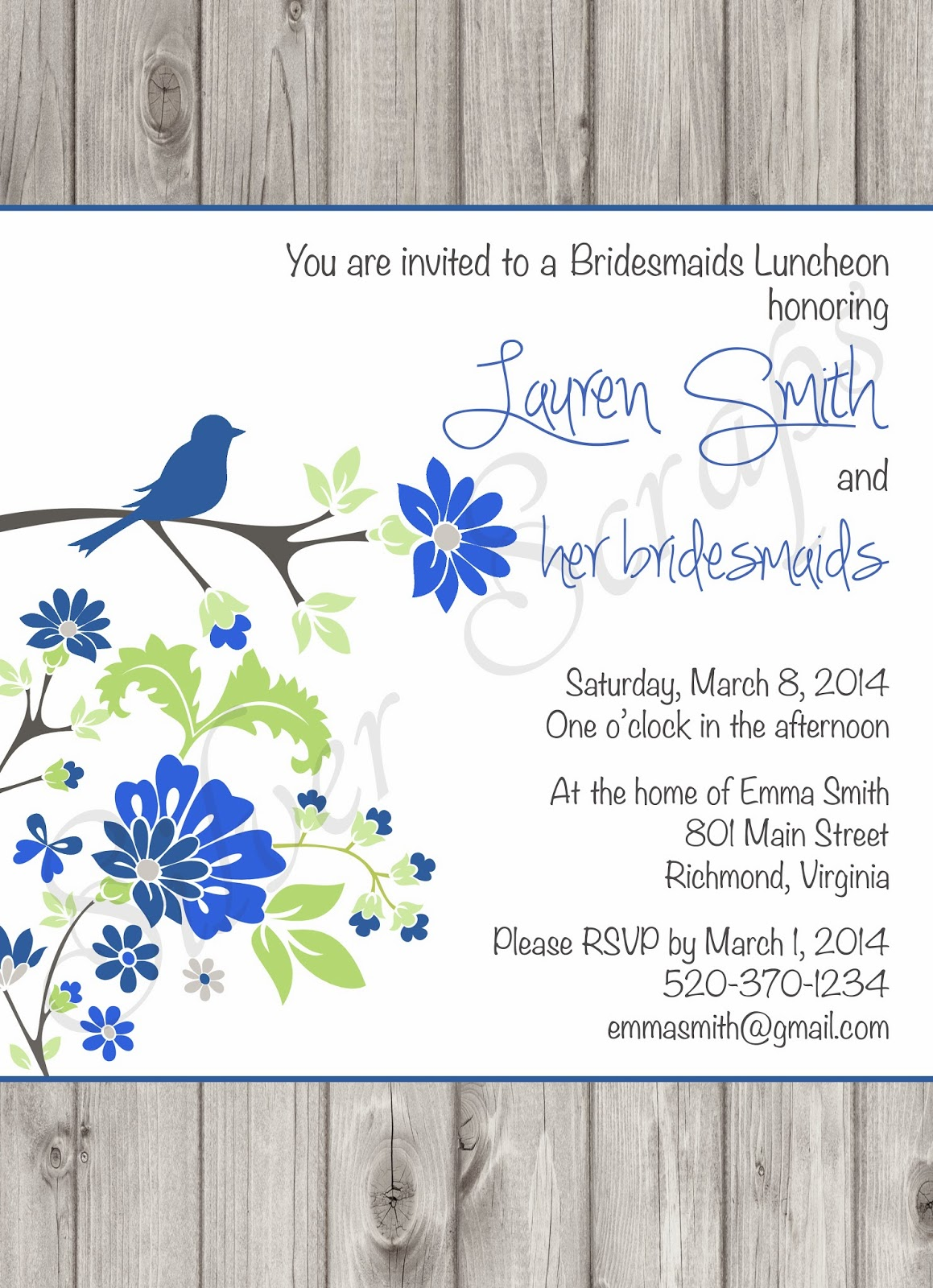 Flowers, Bird on Branch and Wood - Custom Digital Bridal, Baby Shower, Bridesmaids Luncheon Invitation - Navy Royal Blue Green Floral Birch Trees Bark Woodgrain Rustic Outdoors Cottage Barn