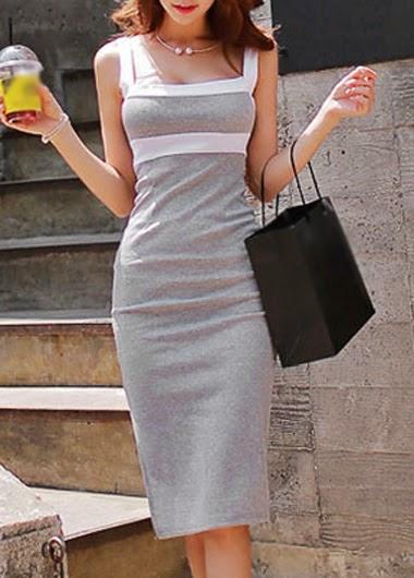 Vestido Casual Hasta la Rodilla Con Tirantes y Aplicaciones Blancas