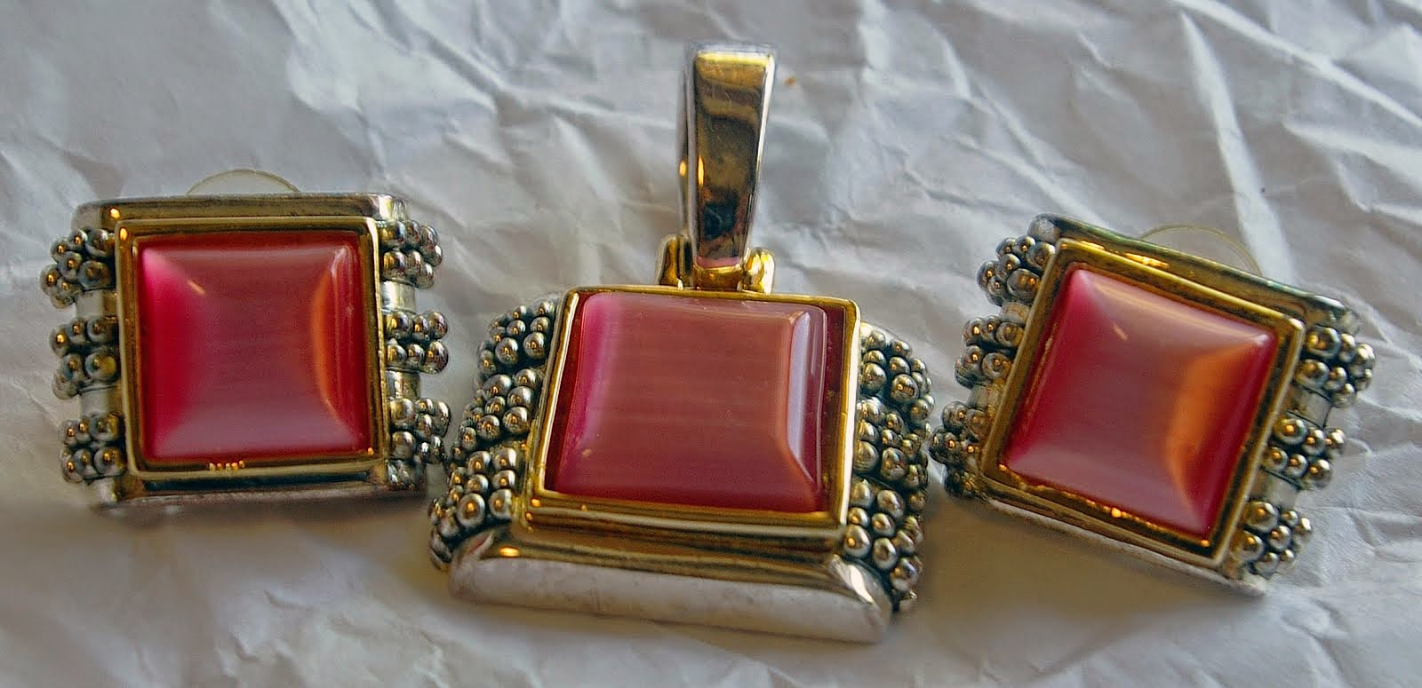 Pink earrings and Pendant