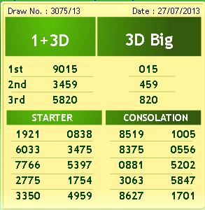 4D and 1+3D Result As Of 27th July 2013