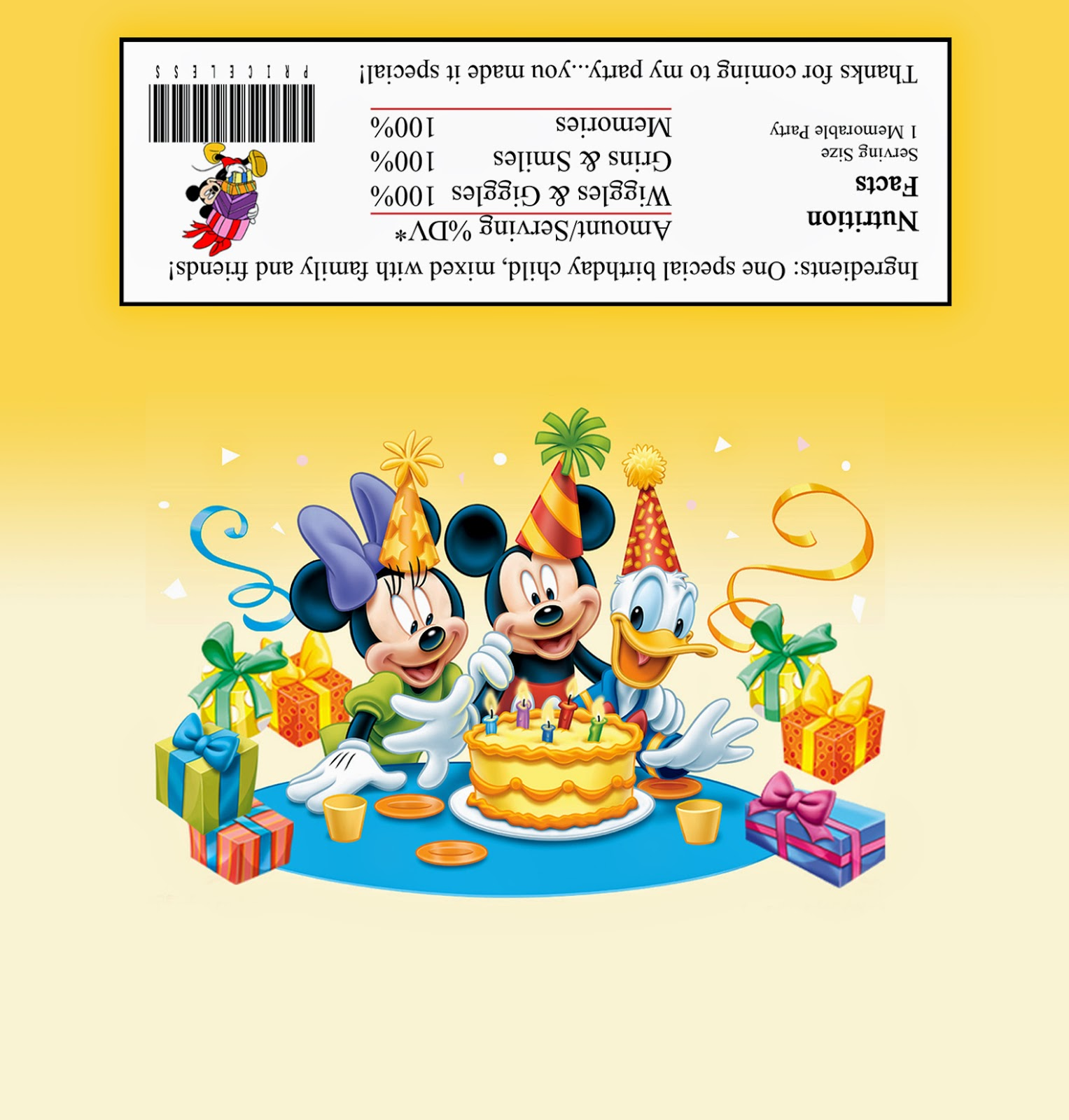 Minnie, Mickey and Donald: Free Printable Chocolate Wrapper.