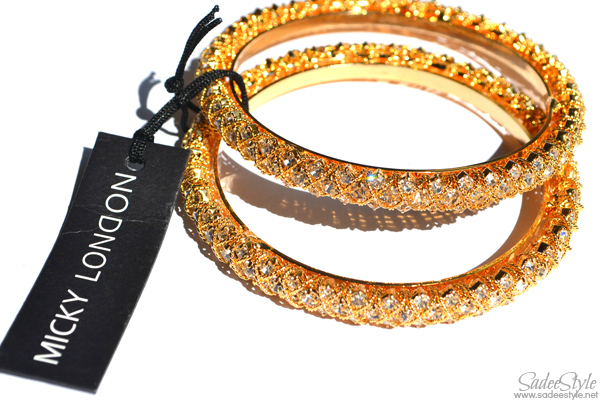 'J'adore' Gold Bangle by Micky London