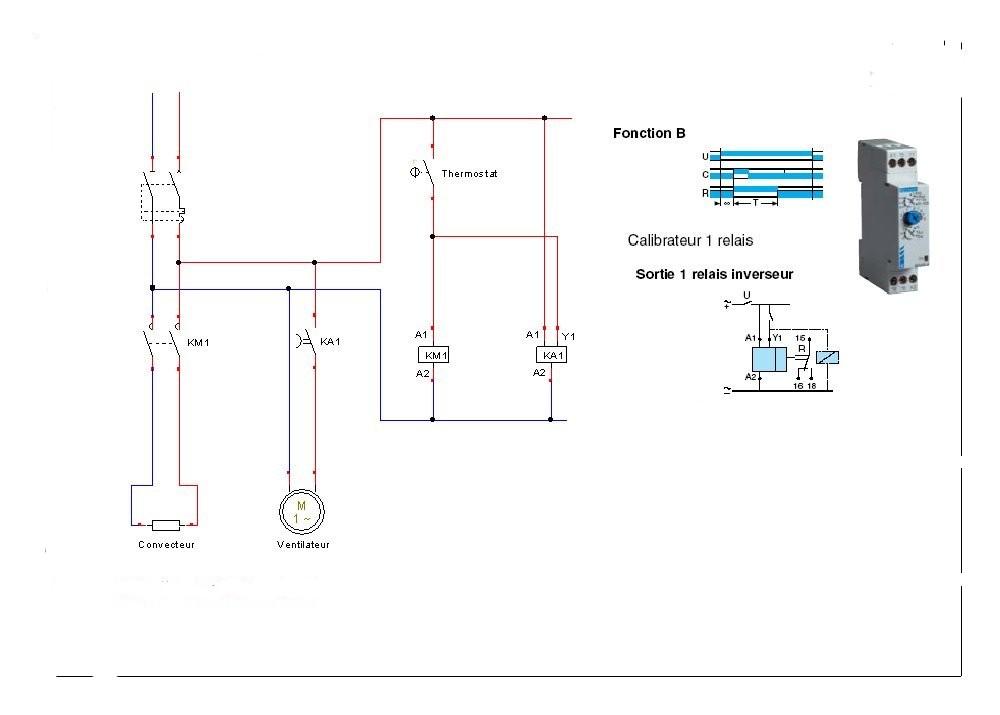 Sch ma de commande d un convecteur et d un ventilateur pilot par un thermost - Controle electrique maison ...