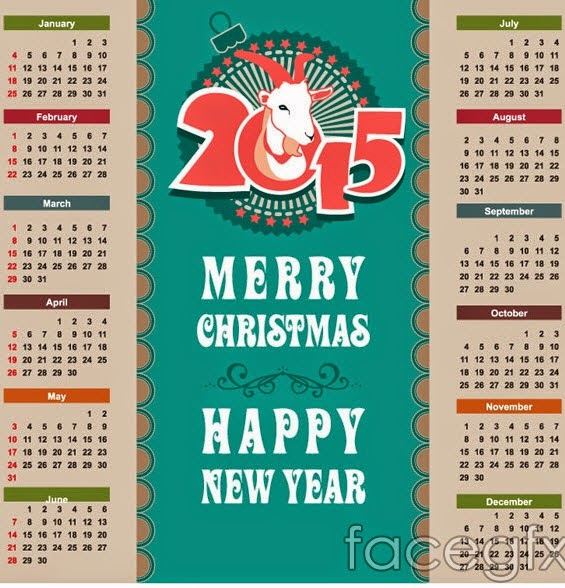 2015 sheepshead calendar vector