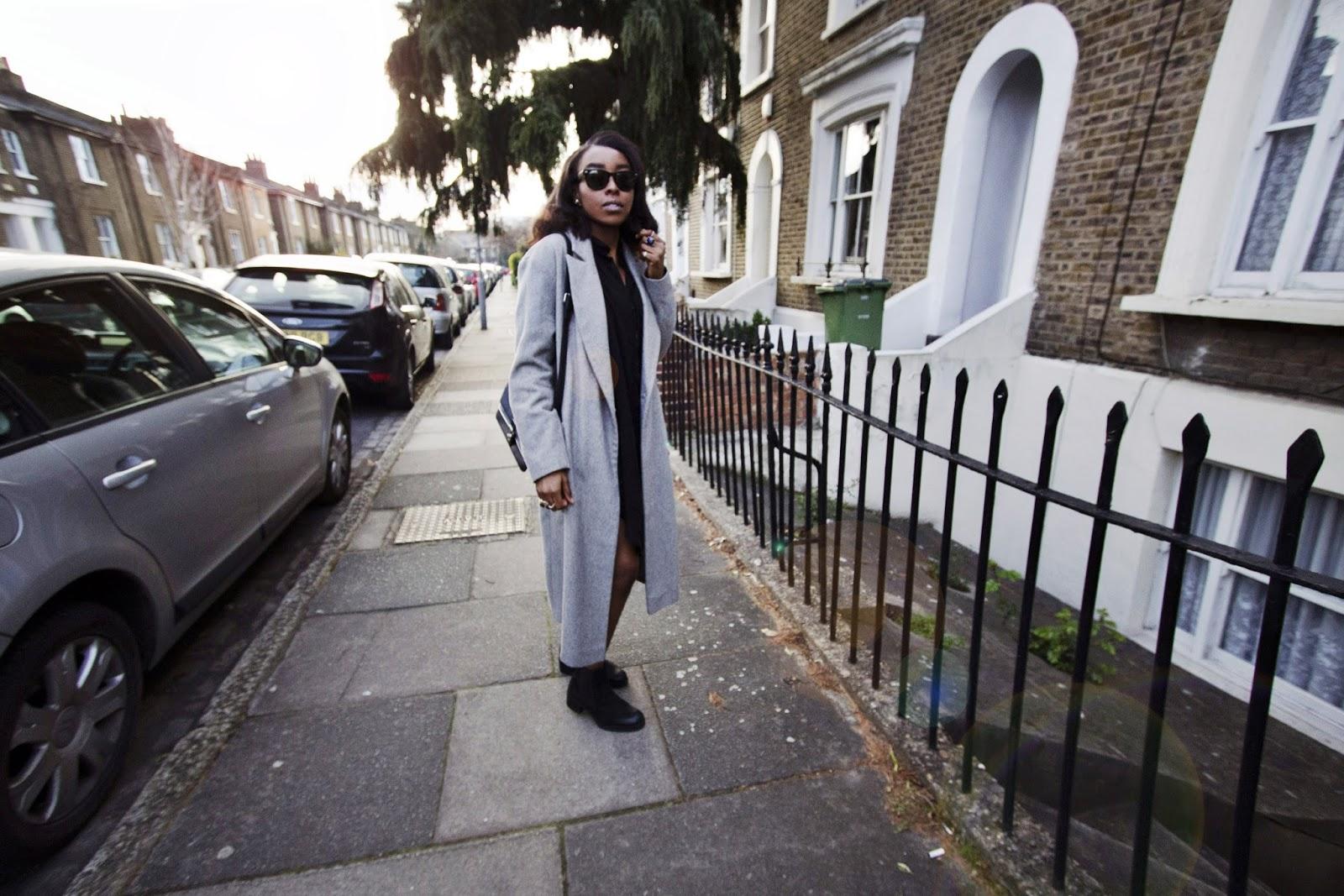 Long Grey Oversized Boyfriend Coat