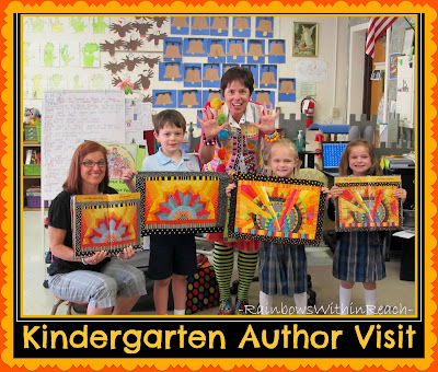 photo of: Debbie Clement making Author-Illustrator School Visit to Kindergarten