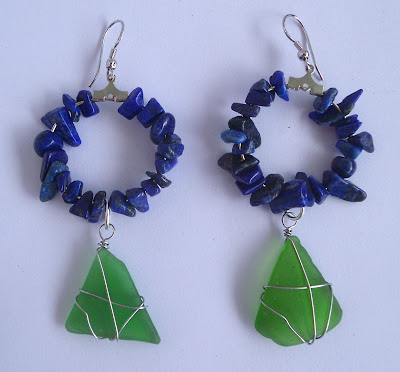 Handmade lapis lazuli and green seaglass hoop earrings