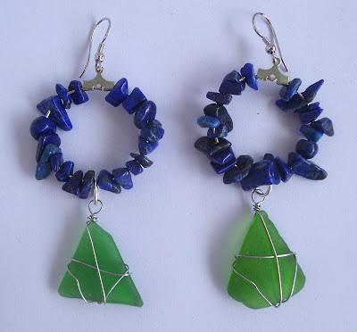 Handmade lapis lazuli and green seaglass hoop earrings