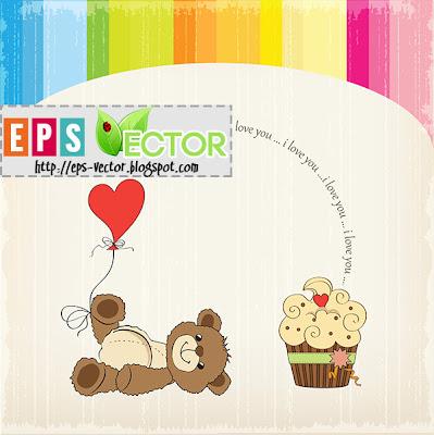 [Vector] - cute love card with teddy bear