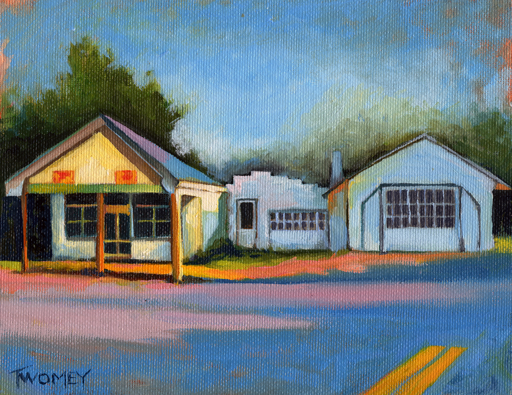 Twomey's Oil Painting of Huckstep's Garage, Free Union Virginia