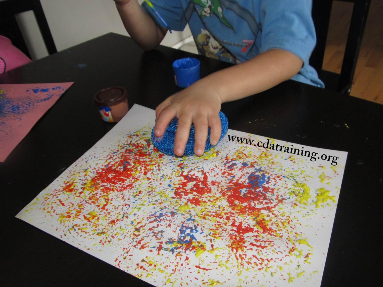 child care basics resource blog  sponge painting