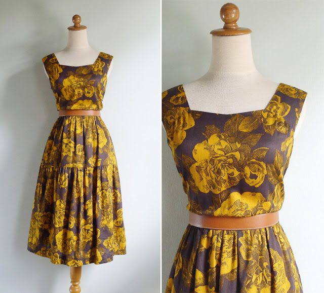 vintage 50's style yellow rose print dress